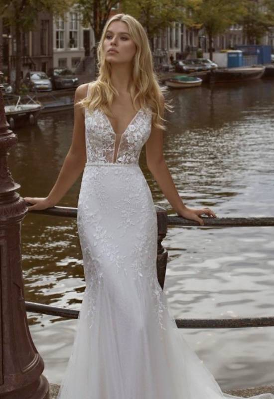 Feather by Modeca soft fitted Wedding dress with tank style thick straps at Love it at Stella's Bridal in Westminster, Maryland