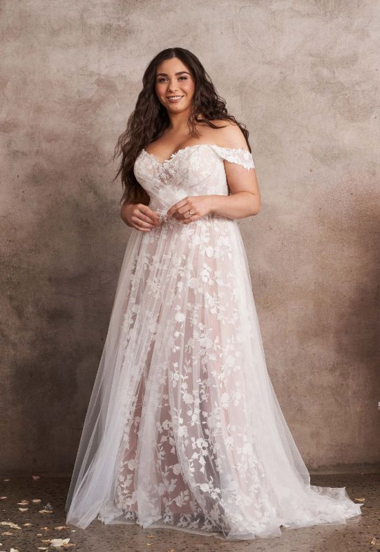 Plus size wedding dresses Off the shoulder lace and soft tulle wedding dress by Lillian West at Love it at Stella's Bridal Shop in Westminster, Maryland