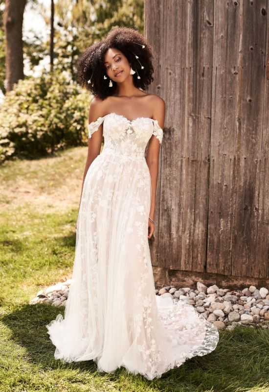 Off the shoulder lace and soft tulle wedding dress by Lillian West at Love it at Stella's Bridal Shop in Westminster, Maryland