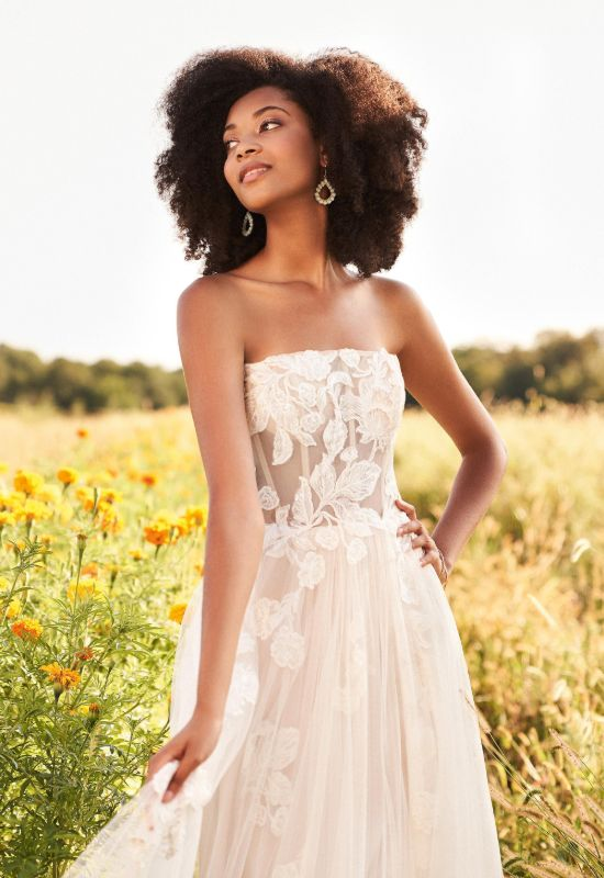 Strapless soft tulle with lace embellishments by Lillian West wedding dress at Love it at Stella's Bridal Shop in Westminster, Maryland
