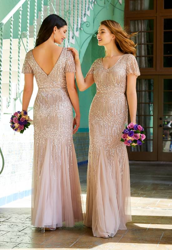 Adrianna Papell Platinum Bridesmaids Evening gown with cap sleeves Mother of the Bride Mother of the Groom Dress for weddings at Love it at Stela's Bridal in Westminster, MD