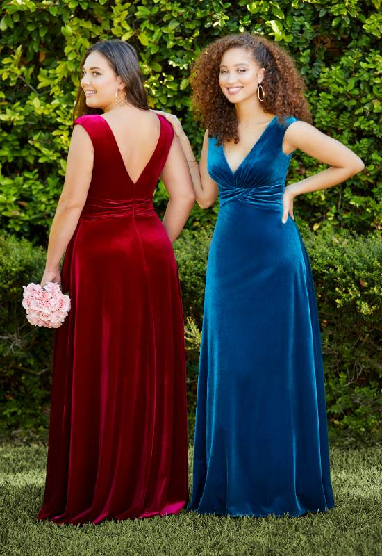 Velvet bridesmaid dress with cap sleeves and deep v neckline at Love it at Stella's Bridal in Westminster, Maryland
