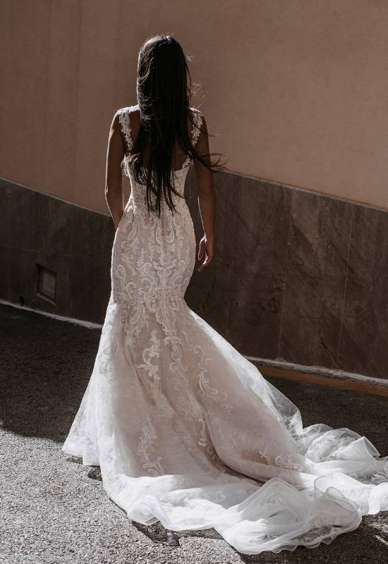Abella Alma glitter mermaid wedding dress with cap sleeves at Love it at Stella's Bridal in Westminster, MD