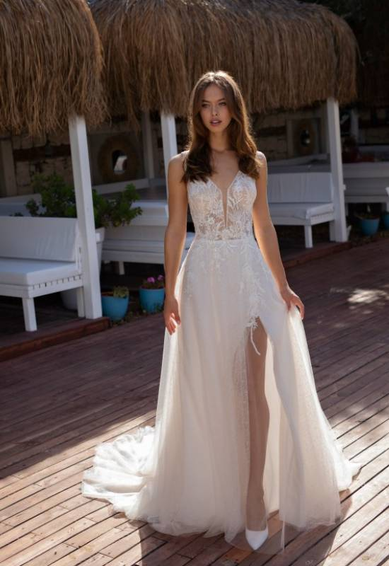 Le Papillon by Modeca soft A-line wedding dress with slit and beautiful glitter tulle at Love it at Stella's Bridal in Westminster, MD