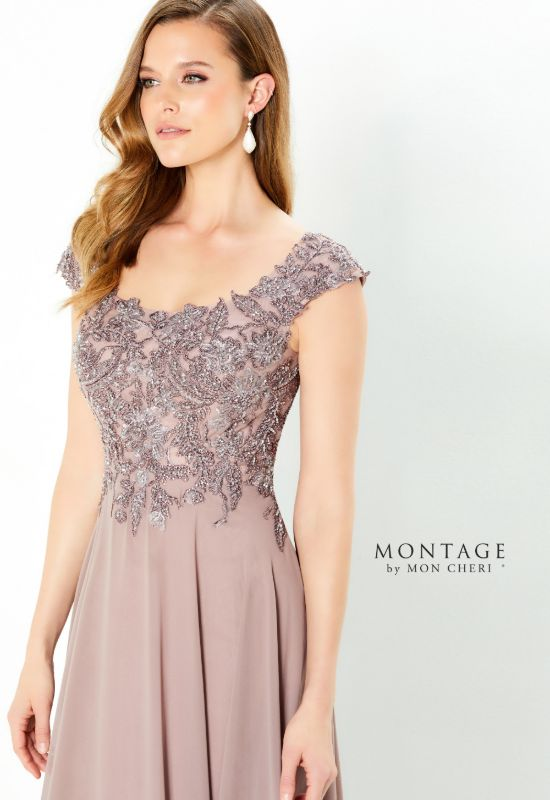 Montage by Mon Cheri cap sleeve soft dusty rose Mother of the Bride Mother of the groom dress at Love it at Stella's Bridal Shop in Westminster, Maryland