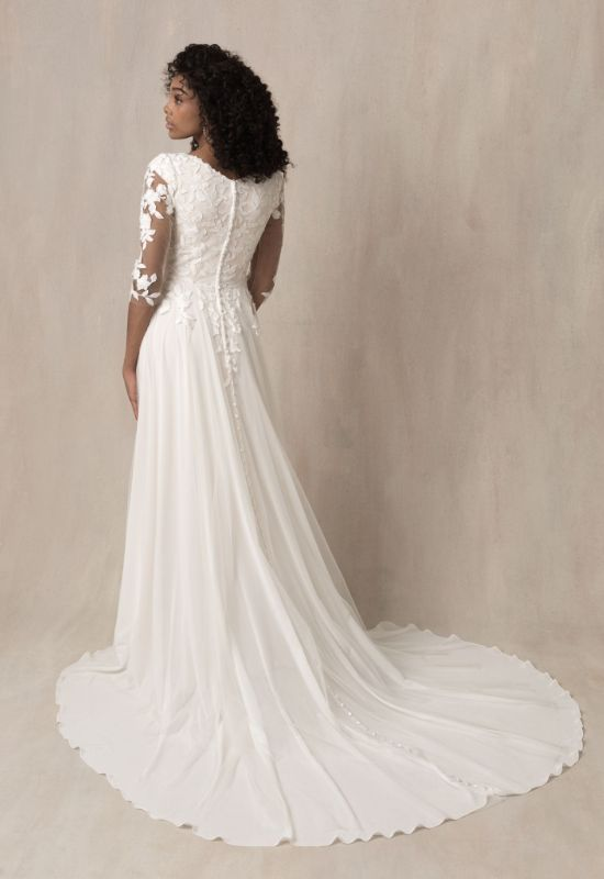 Amy by Allure Bridals Modest long sleeve wedding dress at Love it at Stella's Bridal Shop in Westminster, Maryland