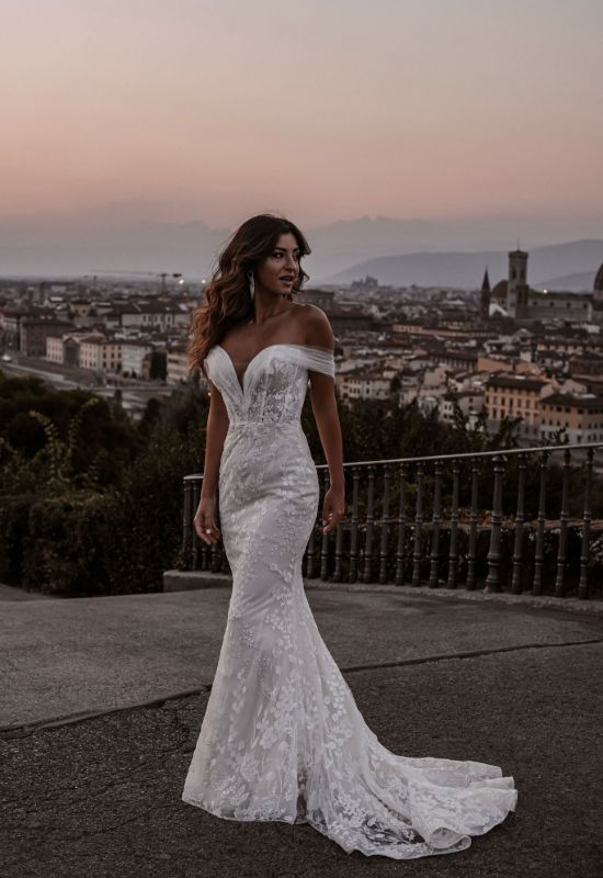 Hellena by Abella Bride off the shoulder soft lace wedding dress at Love it at Stella's bridal boutique in Westminster, Maryland