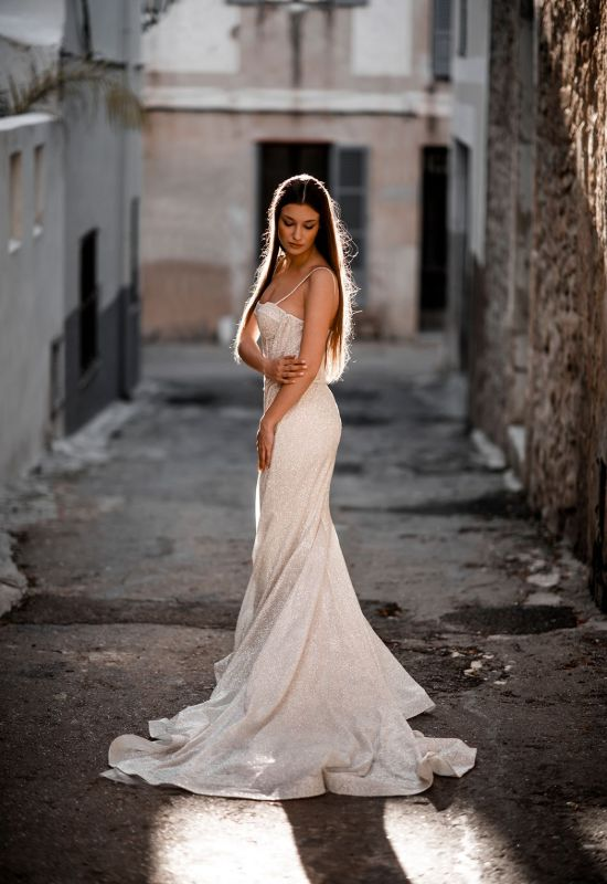 Karina by Abella Bride with detachable skirt glitter fitted exposed corset top berta bridal lookalike at Love it at Stella's Bridal Shop in Westminster, Maryland