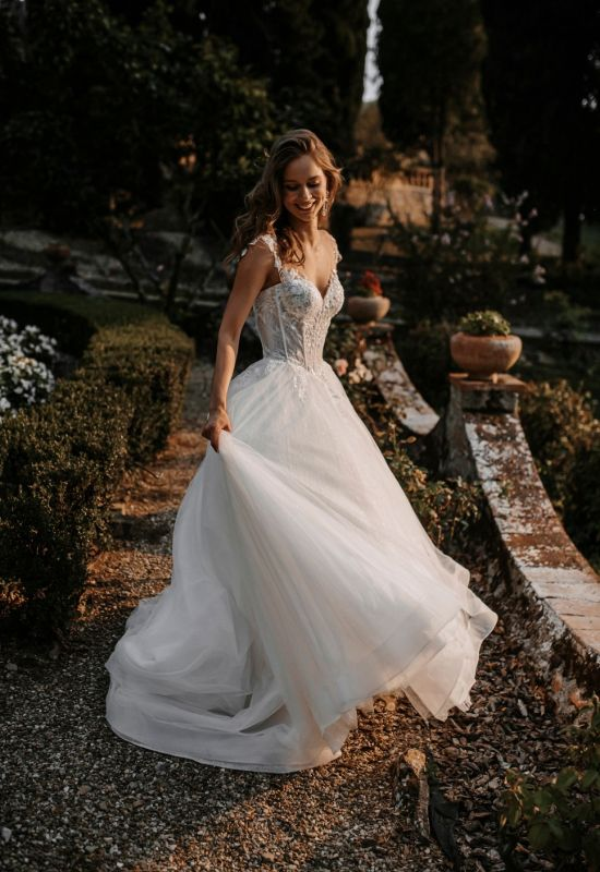 Paulina by Abella Bride cap sleeve ballgown with glitter tulle and delicate lace at Love it at Stella's Bridal Shop in Westminster, Maryland