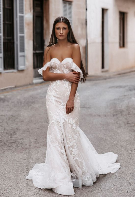 Cilka by Abella Bride mermaid fit and flare wedding dress with exposed corset top and off the shoulder straps at Love it at Stella's Bridal Shop in Westminster, Maryland