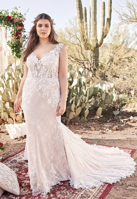 Lillian West Boho off the shoulder fitted style wedding dress for plus size brides at Love it at Stella's Bridal in Westminster, Maryland