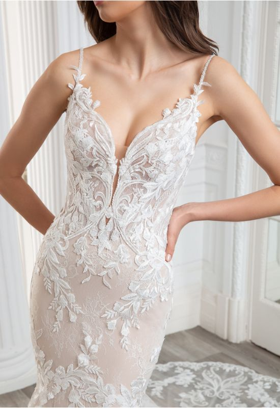 Calie by Etoile by Elysee Bridal Design mermaid fit n flare wedding dress with organic lace pattern and unique train at Love it at Stella's Bridal Shop in Westminster, Maryland