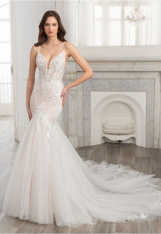 Elia by Etoile by Elysee Bridal Design mermaid fit n flare spaghetti strap lace wedding dress at Love it at Stella's Bridal Shop in Maryland