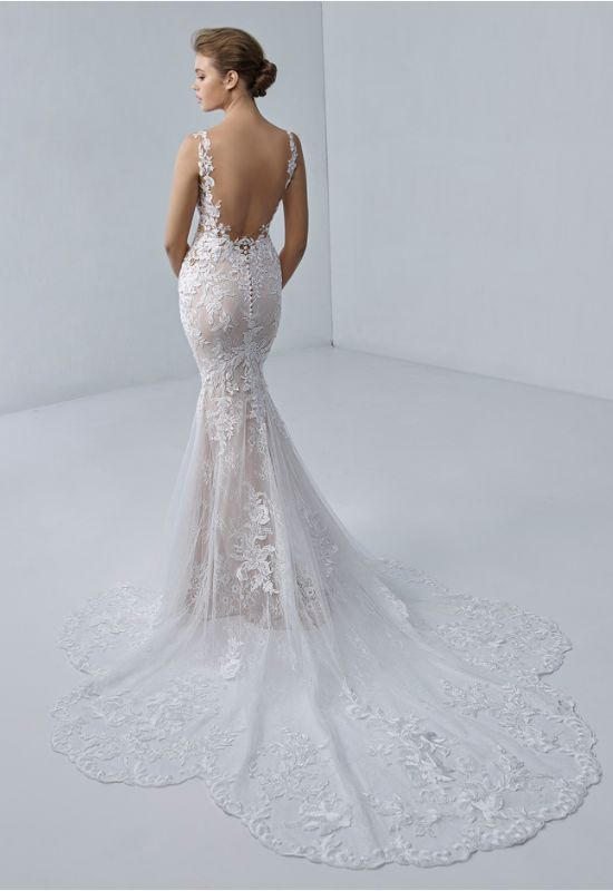 Adrianna by Etoile by Elysee Bridal Design lace mermaid dress with unique train at Love it at Stella's Bridal Shop in Westminster, Maryland