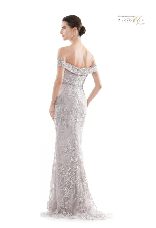 Rina diMontella mother of the bride dress off the shoulder details at Love it at Stella's bridal shop in Westminster, Maryland