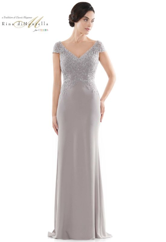 Rina diMontella mother of the bride dress with short sleeves at Love it at Stella's bridal shop in Westminster, Maryland