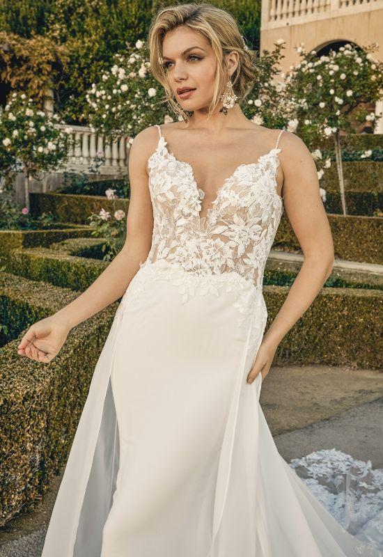 Skylar by Casablanca Bridal crepe chiffon fit and flare wedding dress with lace embellishments at Love it at Stella's bridal shop in Westminster, Maryland